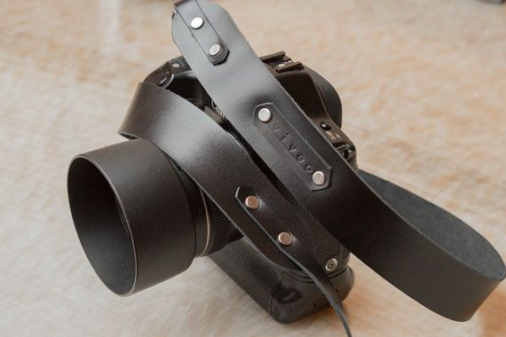Personalized leather camera strap. Hand made from by StudioFi, $35.00
