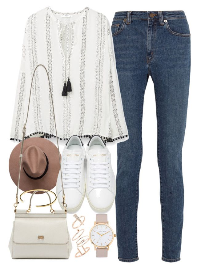 """""""Outfit for casual day out in spring"""" by ferned ❤ liked on Polyvore featuring Yves Saint Laurent, MANGO, Dolce&Gabbana, Le Gramme, Topshop and The Horse"""