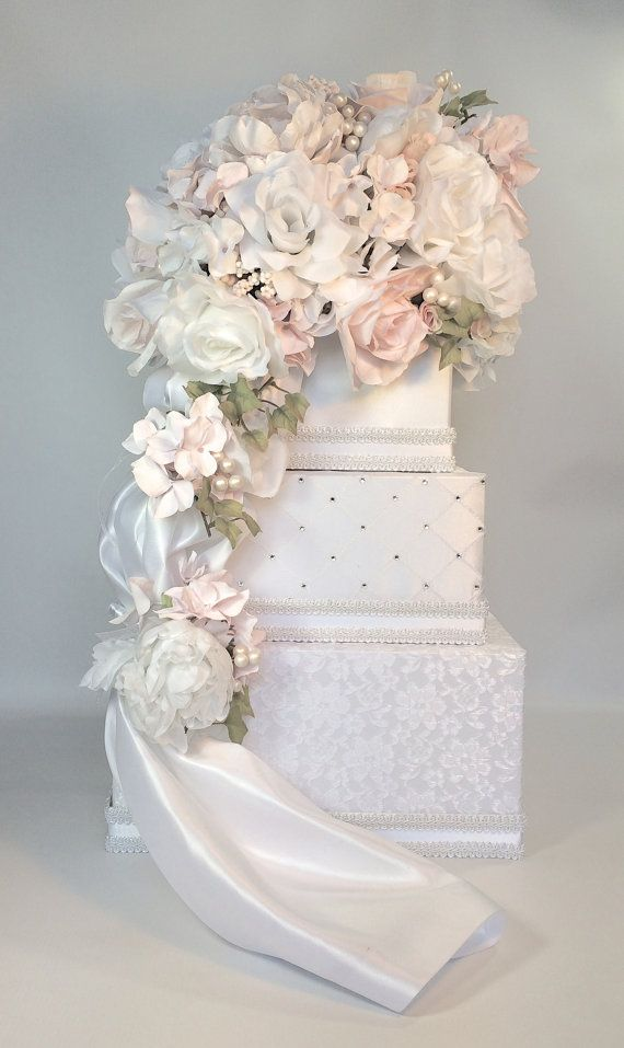 Wedding Card Box with Lock White Lace