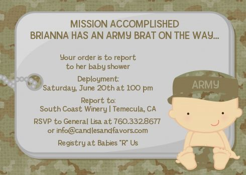 Camo Military - Baby Shower Invitations. Available in Caucasian, African American, Hispanic and Asian Ethnicities.