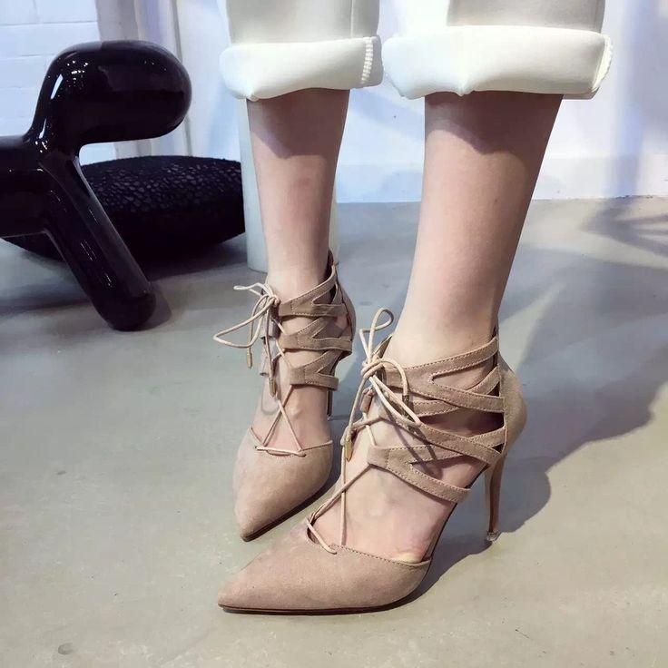 36.40$  Buy here - https://alitems.com/g/1e8d114494b01f4c715516525dc3e8/?i=5&ulp=https%3A%2F%2Fwww.aliexpress.com%2Fitem%2F2016-Women-s-Pump-Shoes-Sexy-Hoge-Hakken-Damenschuhe-Pumps-Pointed-Toe-Lace-Up-Escarpins-Nude%2F32685796931.html - 2016 Women's Pump Shoes Sexy Hoge Hakken Damenschuhe Pumps Pointed Toe Lace Up Escarpins Nude Evening Women Shoes 9cm 36.40$