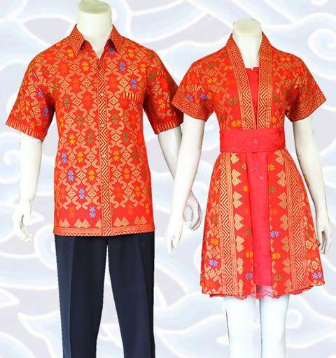 batik sarimbit dress couple modern orange sm348 di http://senandung.net/baju-batik-sarimbit-couple-modern/