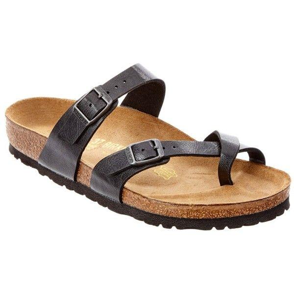 Birkenstock Mayari Sandal (1.705 CZK) ❤ liked on Polyvore featuring shoes, sandals, black, birkenstock, rubber sole sandals, kohl shoes, rubber sole shoes and birkenstock shoes