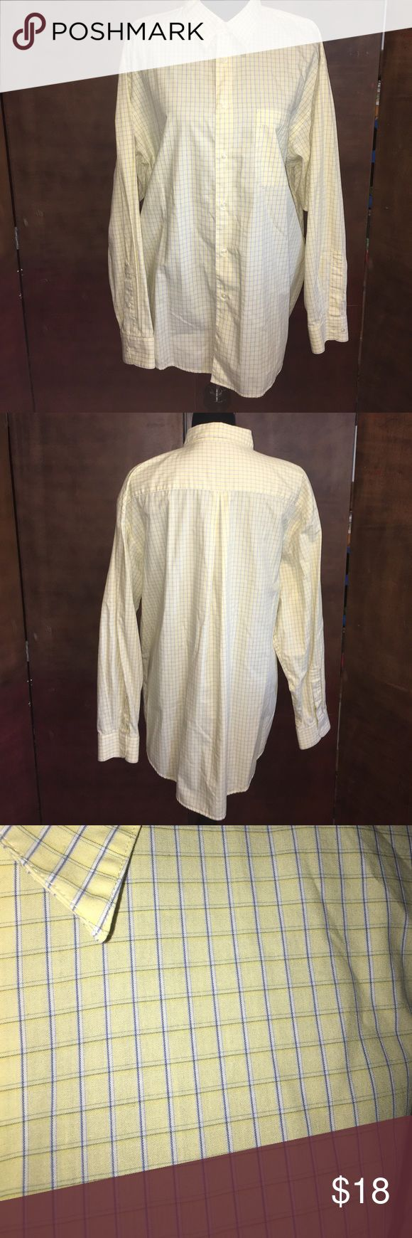 Arrow Pale Yellow and Blue Long Sleeve Dress Shirt Arrow Pale Yellow and Blue Long Sleeve Button Down Dress Shirt. Gently used. Measures approx 27 inches long.  Checkout my ties as well.  Bundle and save on shipping! Arrow Shirts Dress Shirts