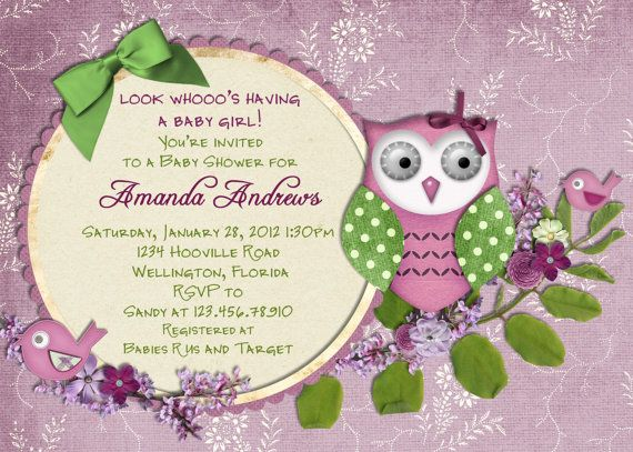 Owl and Bird Baby Shower Invitation Boy or Girl by 3PeasPrints, $16.00