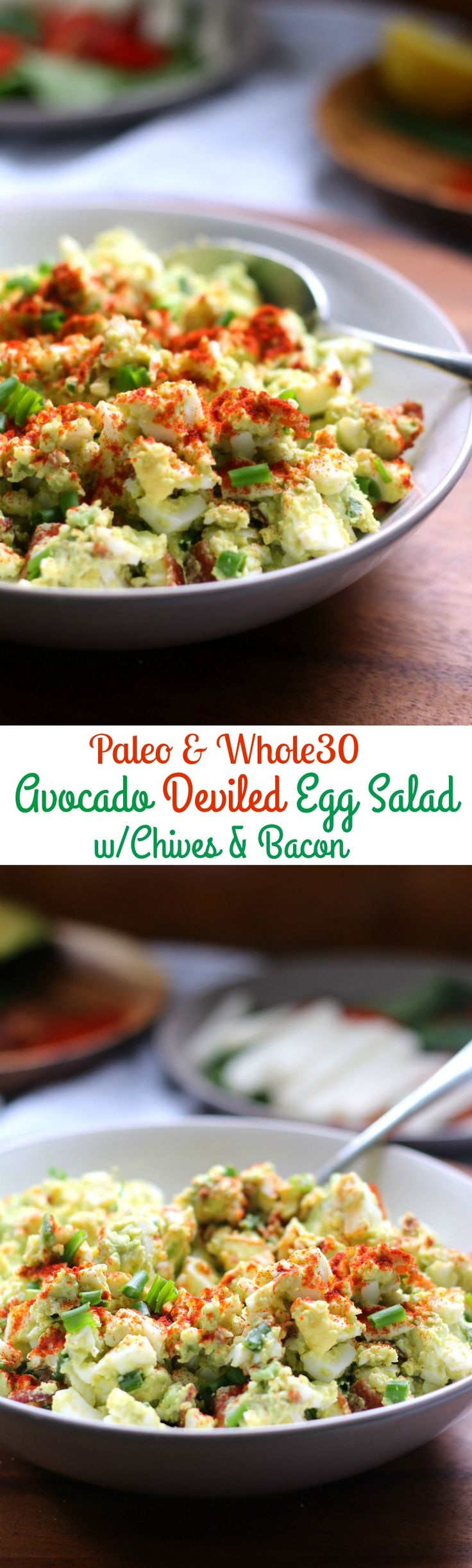 deviled avocado egg salad that's fast, healthy, Paleo and Whole30 friendly and contain NO mayo!  Bacon and chives give this savory Paleo egg salad tons of flavor! (Fast Paleo Meals)