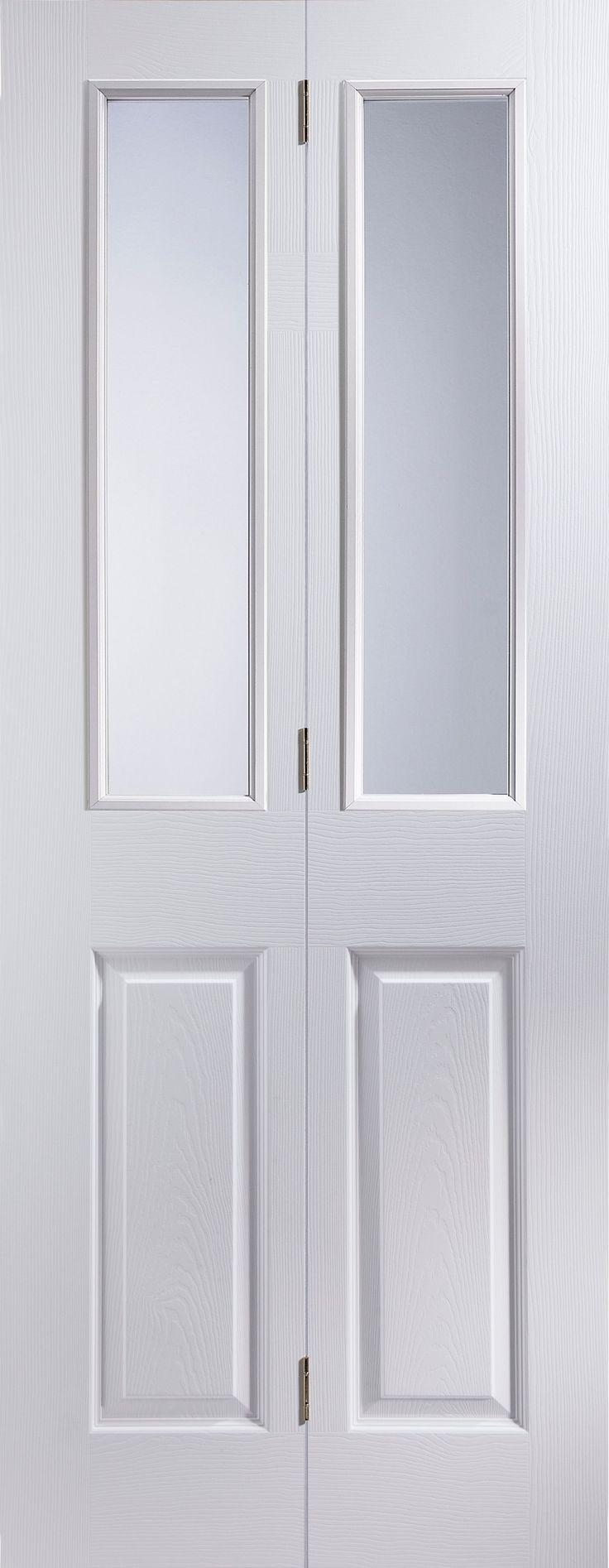 4 Panel Primed Woodgrain Glazed Internal Bi-Fold Door, (H)1981 (W)762mm | Rooms | DIY at B&Q