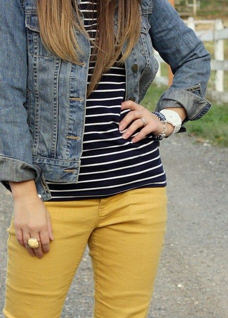 Mustard jeans, stripe tee and a denim jacket. Perfect spring outfit.