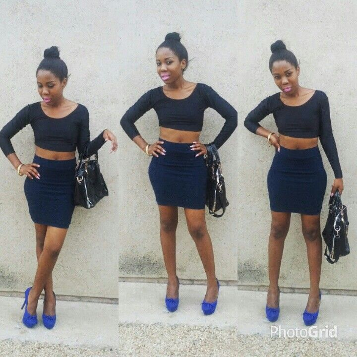 Crop tops are also fashionable,heels,skirt,channel handbag....