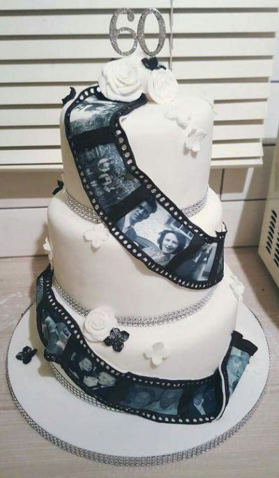 Diamond Wedding Anniversary Cake Edible Photos Nan And Grandad Diamonds 60 Years Roses Pretty Chelsie Cooks Cakes