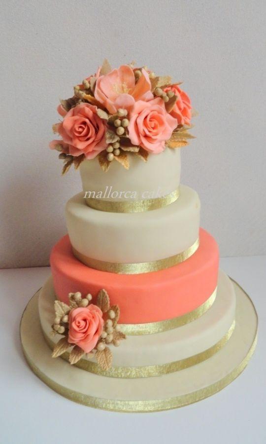 coral peach wedding cake - Cake by mallorcacakes ...