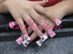 2009 Pink & White Style Duckfeet with hand painted nail art Bows, Tiger/Zebra, Poka dots. Hearts & stars.