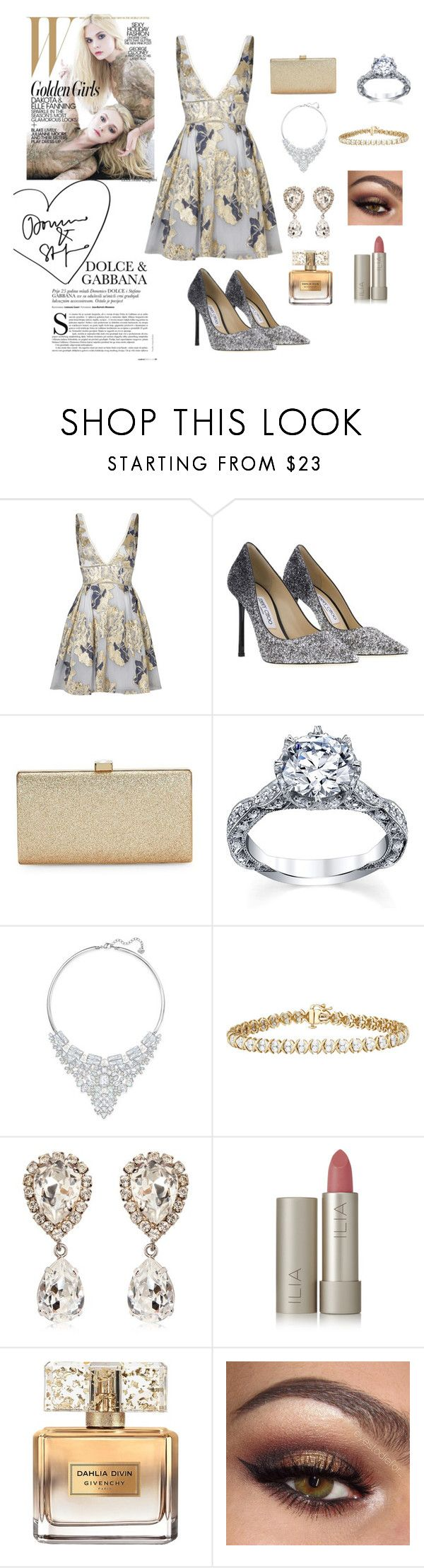 """""""Silver and Gold"""" by themaskedladyinred ❤ liked on Polyvore featuring Notte by Marchesa, Jimmy Choo, La Regale, Swarovski, Dolce&Gabbana, Ilia and Givenchy"""