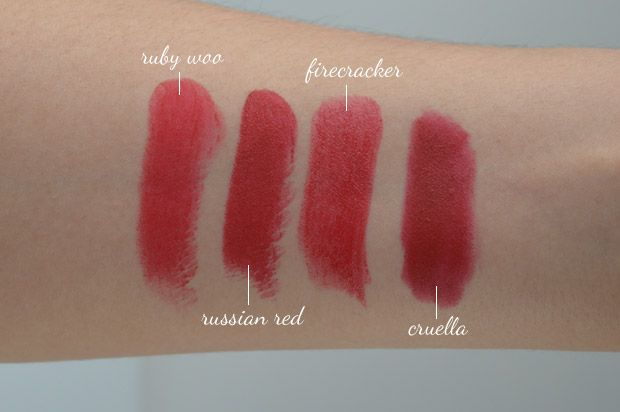 Swatches Ruby Woo, Russian Red, Firecracker, Cruella