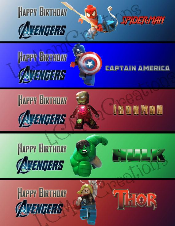 Avenger Water Bottle Labels Waterbottle labels  by LCMomCreations