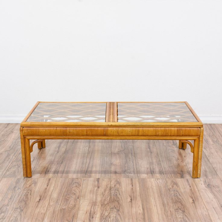 This Coffee Table Is In Great Condition With Curved Wood Corners, A Bent  Diamond Lattice Top And 2 ...