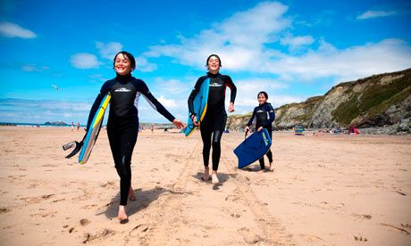 Guardian top 10 family campsites Beach Boys on Gwithian beach with Godrevy lighthouse ================