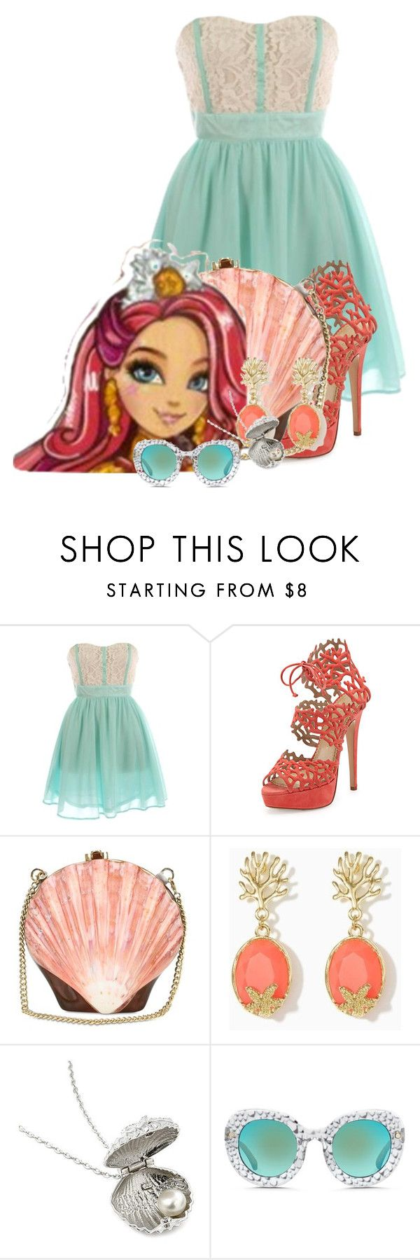 """Meeshell Mermaid outfit-Maddy"" by pinkie8 ❤ liked on Polyvore featuring Charlotte Olympia, Rocio, Fantasy Jewelry Box and Matthew Williamson"