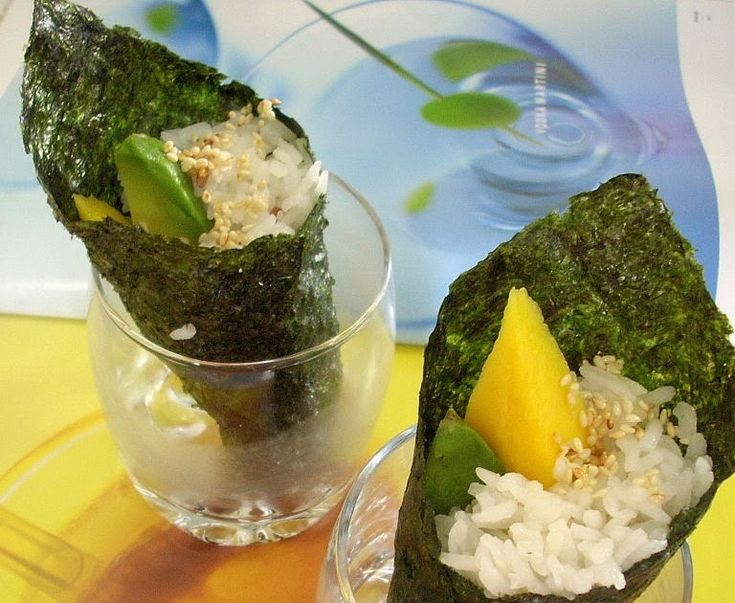 Avocado & Mango Temaki with pickled sushi ginger   This is incredibly simple and delectable dish. As long as you can cook a pot of rice an...
