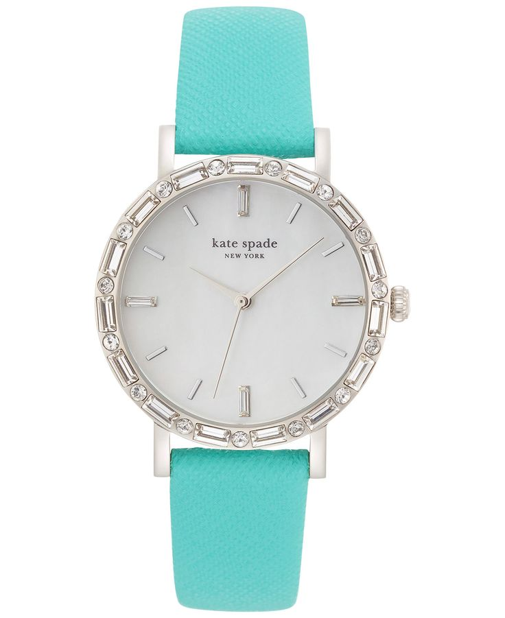 kate spade new york Women's Metro Skinny Interchangeable Glitter Leather and Blue Leather Strap Watch Set 34mm 1YRU0679 - Kate Spade - Jewelry & Watches - Macy's