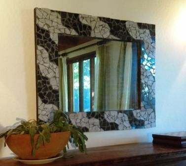 Handmade Polished Stone Mosaic with Antique Mirror,wall mirror,custom mirror,mosaic mirror,handmade mirror,large mirror,modern,framed mirror by SpearheadFurniture on Etsy