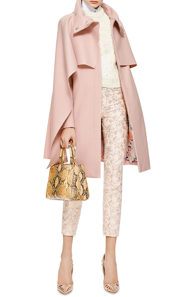 i am obsessed with this pale pink - it is such a warm shade - Draped Tie-Neck Wool-Blend Coat by Thakoon - Moda Operandi