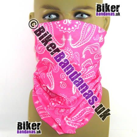 Pink Paisley Pearls Multifunctional Headwear / Neck Tube Bandana.  One of over 400 Styles for Men and Women