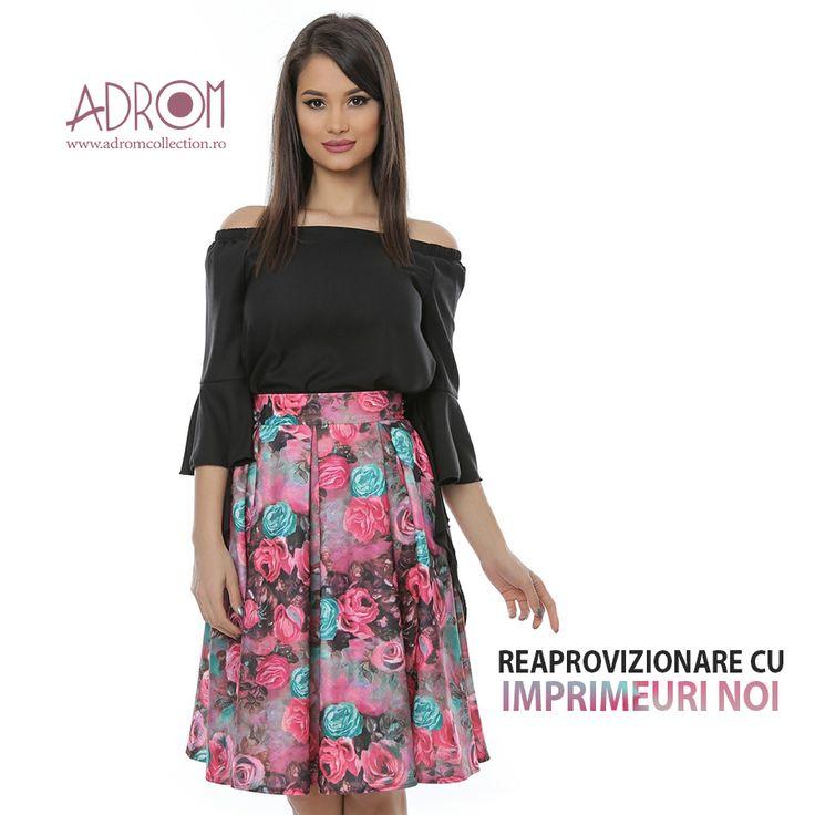 Se poartă fustele cu imprimeu floral în această vară, iar moda continuă și în sezonul de toamnă 2017. Oferă-le clientelor tale haine în ultimele tendințe și comandă noile imprimeuri ale fustei F079. Link produs: http://www.adromcollection.ro/104-fusta-angro-f079.html