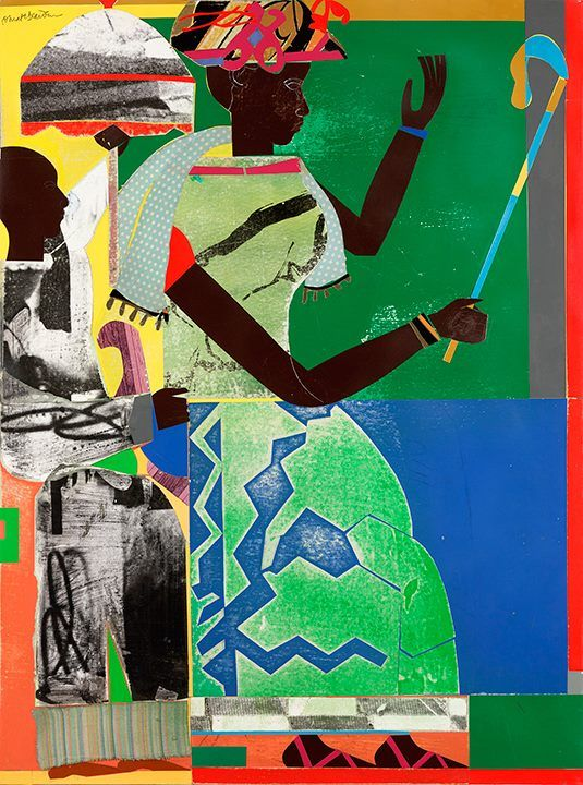 """She-ba,"" 1970, Romare Bearden. Collage on paper, cloth and synthetic polymer paint on composition board."