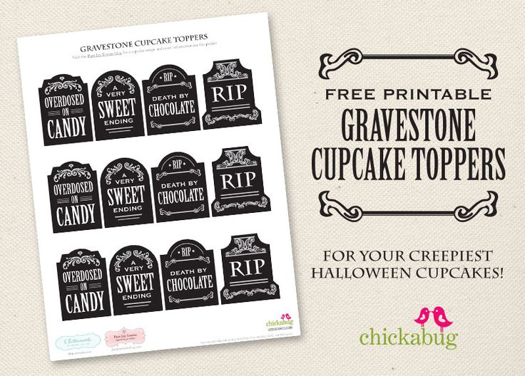 free printable gravestone cupcake toppers - Free Printables For Halloween
