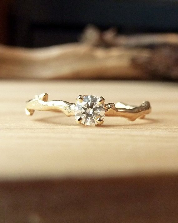 Prong Set Diamond Branch Ring by kateszabone on Etsy