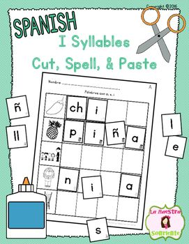 I Syllables Cut, Spell, and Paste (Spanish): Your students cut out the letters, sort them by the picture cue in each corner, and use the letter pieces to spell the word. Great for kids who need to slow down their writing so they hear more of the sounds of the word! $