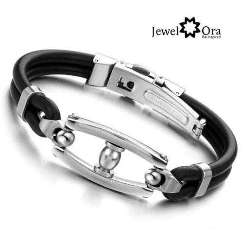 Подарки дизайнер черный PU кожаный браслет мужские украшения из нержавеющей стали 316L мужская браслет ( JewelOra BA100828 )