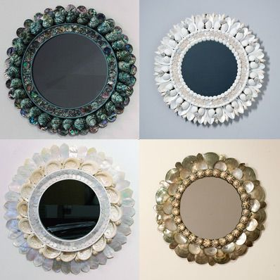 Paris based artist thomas boog is designing a series of decorative mirrors using the technique of coquillage that of covering surfaces with seashells