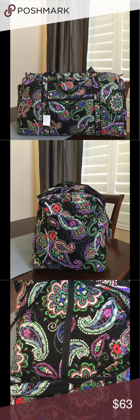 """NWT VERA BRADLEY LARGE DUFFEL Brand new with tags Vera Bradley large duffel  Kiev paisley pattern  15"""" strap drop Handy outside end pocket Folds flat for easy storing Dimensions 22"""" W x 11½"""" H x 11½"""" D - 15"""" strap drop Duffle Smoke/pet free home Vera Bradley Bags Travel Bags"""