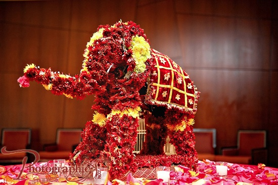 Flower Elephant Table Decor at an Indian Wedding