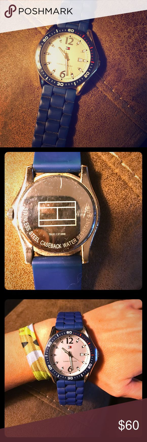 Men's watch! 👍🏼💕 Beautiful blue Tommy watch! Rubber strap. The face is in perfect condition! One of my favorites by far for a man. Tommy Hilfiger Accessories Watches