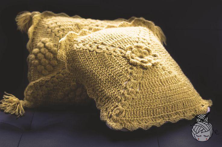 Cojín crochet, ganchillo , Las Albornoz