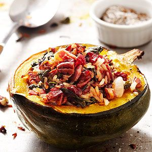 Roasted squash is delicious. But you know what's even better? Roasted squash stuffed with a hearty blend of rice, pancetta, dried cranberries, and herbs. Try this as an entree on its own or as a side dish at Thanksgiving or Christmas dinner.