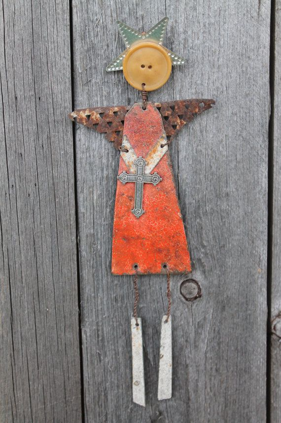 OOAK rustic angel made from recycled metals for by jackrabbitflats