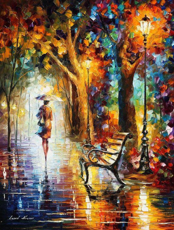 """Toile murale Art - la fin de la Patience — couteau la peinture moderne de l'huile sur toile par Leonid Afremov. Taille: 30 """"X 40"""" (75 cm x 100 cm)"""