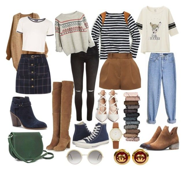 """70s inspired lookbook hipster coffee shop clothing brown"" by thelovelymonalisa on Polyvore featuring Uniqlo, J.Crew, Versace, River Island, Topshop, Sole Society, Converse, Gianvito Rossi, Cutler and Gross and Kate Spade"