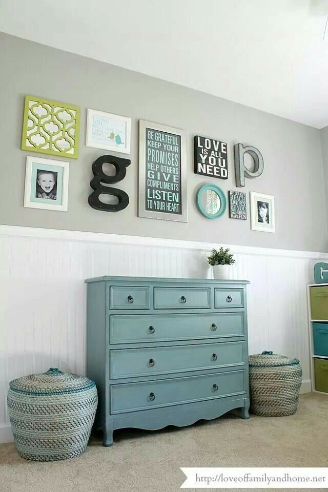 Teal dresser with warm gray and bead board chair rail