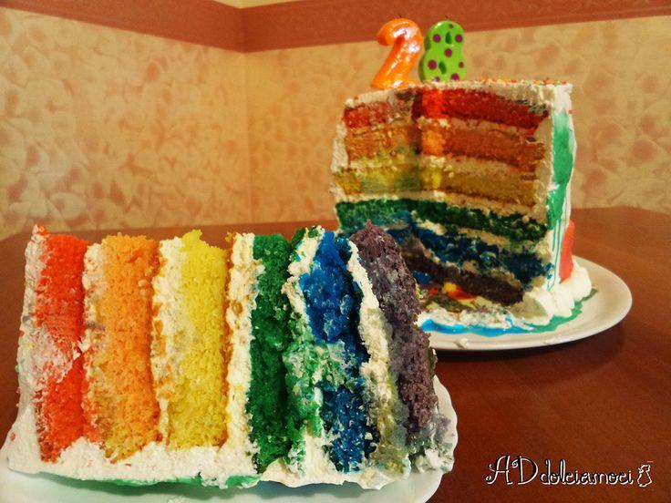 Tanti auguri a me con la torta arcobaleno!! :) http://addolciamoci.altervista.org/2015/02/torta-arcobaleno/