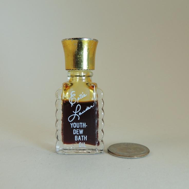 Estee lauder vintage youth dew bath oil bottle for Bathroom bottles