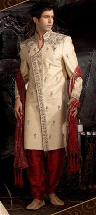 SHERWANI FOR MEN'S WEAR....colour combination is awesome.Available at-> http://www.indianweddingsaree.com/SherwaniProduct/11009.html
