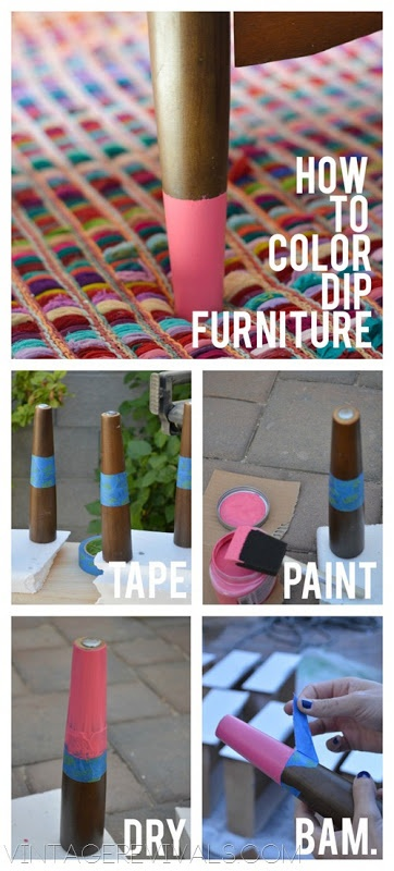 How To Color Dip Furniture- cool idea or my desk. Bright green legs with white desk