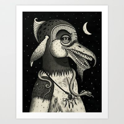 Bearded Fowl with Ambiguous Intentions Art Print by Jon MacNair. You could try and etching when you get back to school. It is a new way of printing but I think you would enjoy it.