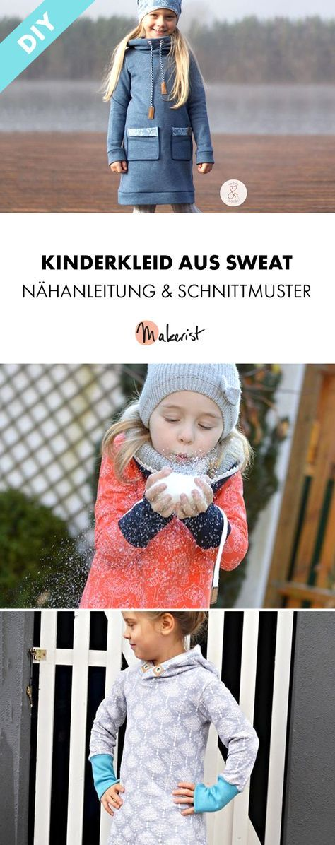 Kinderkleid aus Sweat mit verschiedenen Varianten - Nähanleitung und Schnittmuster via Makerist.de