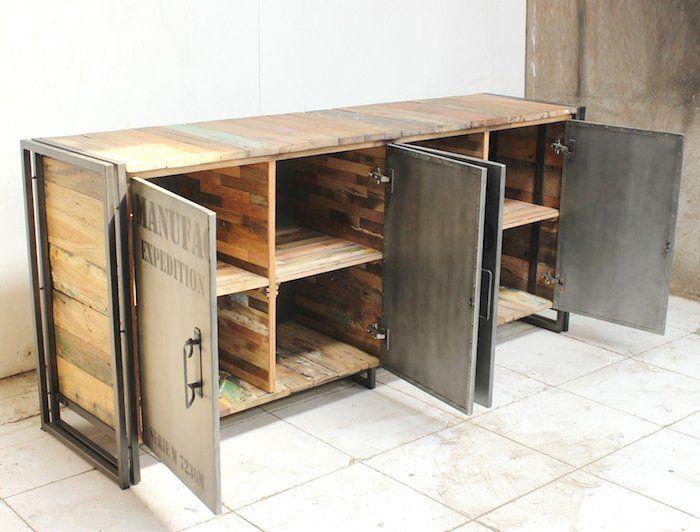 17 meilleures id es propos de buffet industriel sur pinterest bahut indus - Armoire de salon en bois ...